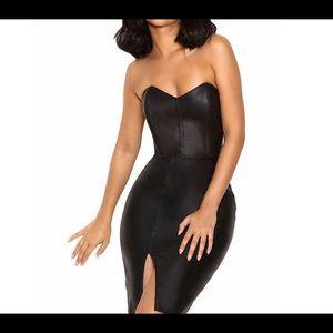 Leatherette Strapless Dress Mini Length